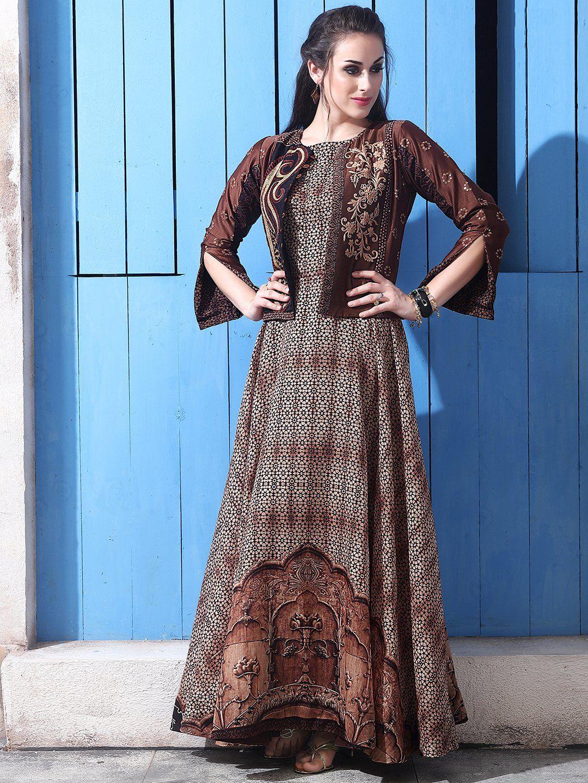ca4ed2ec6c Brown Cotton Silk One Piece Suit brown salwar suit,one piece salwar suit,  jacket style salwar suit