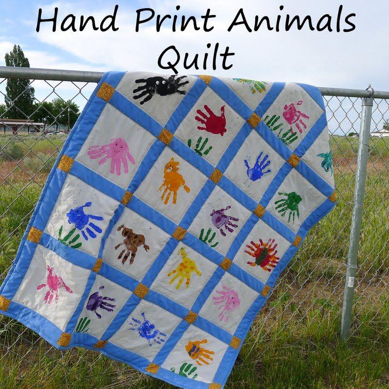 Preschool Quilt Hand Print Animals Art