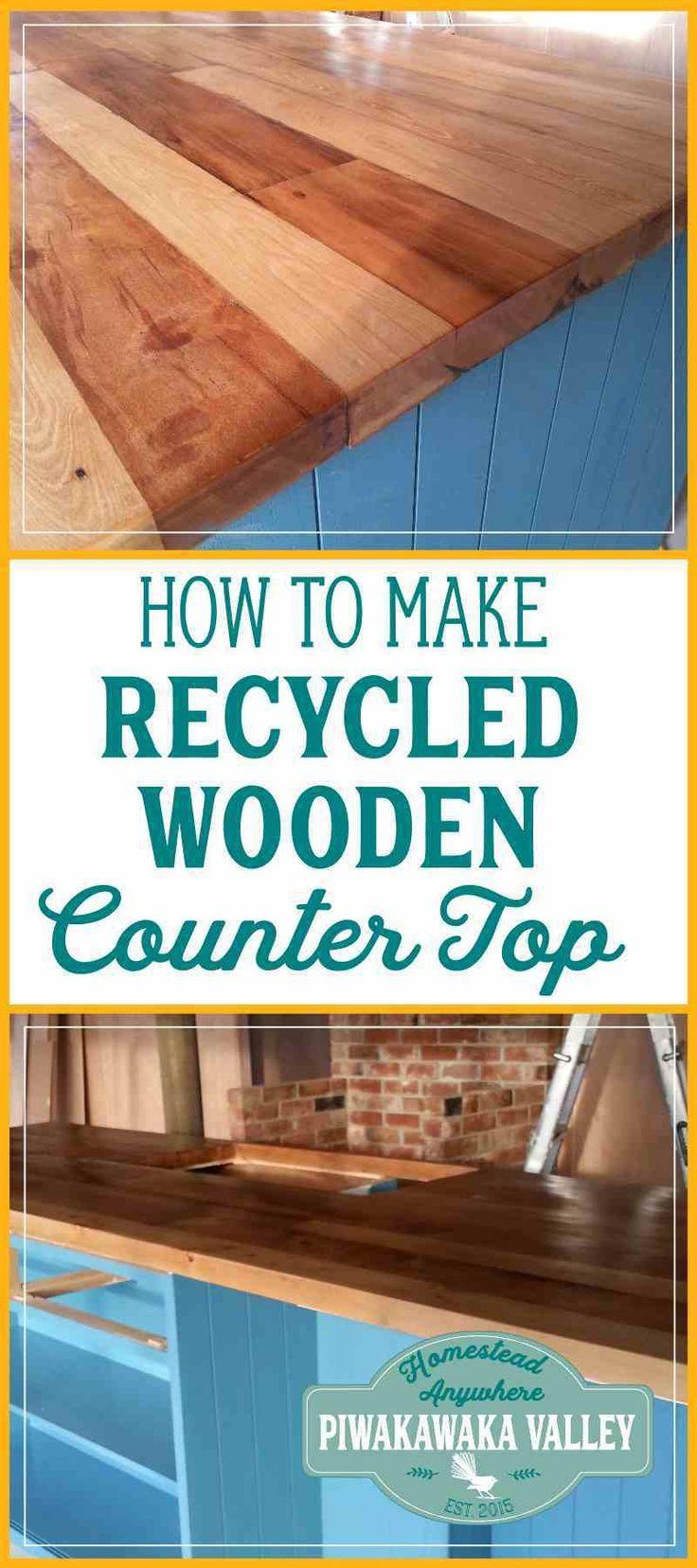 Diy recycled wooden countertop diy countertops wooden