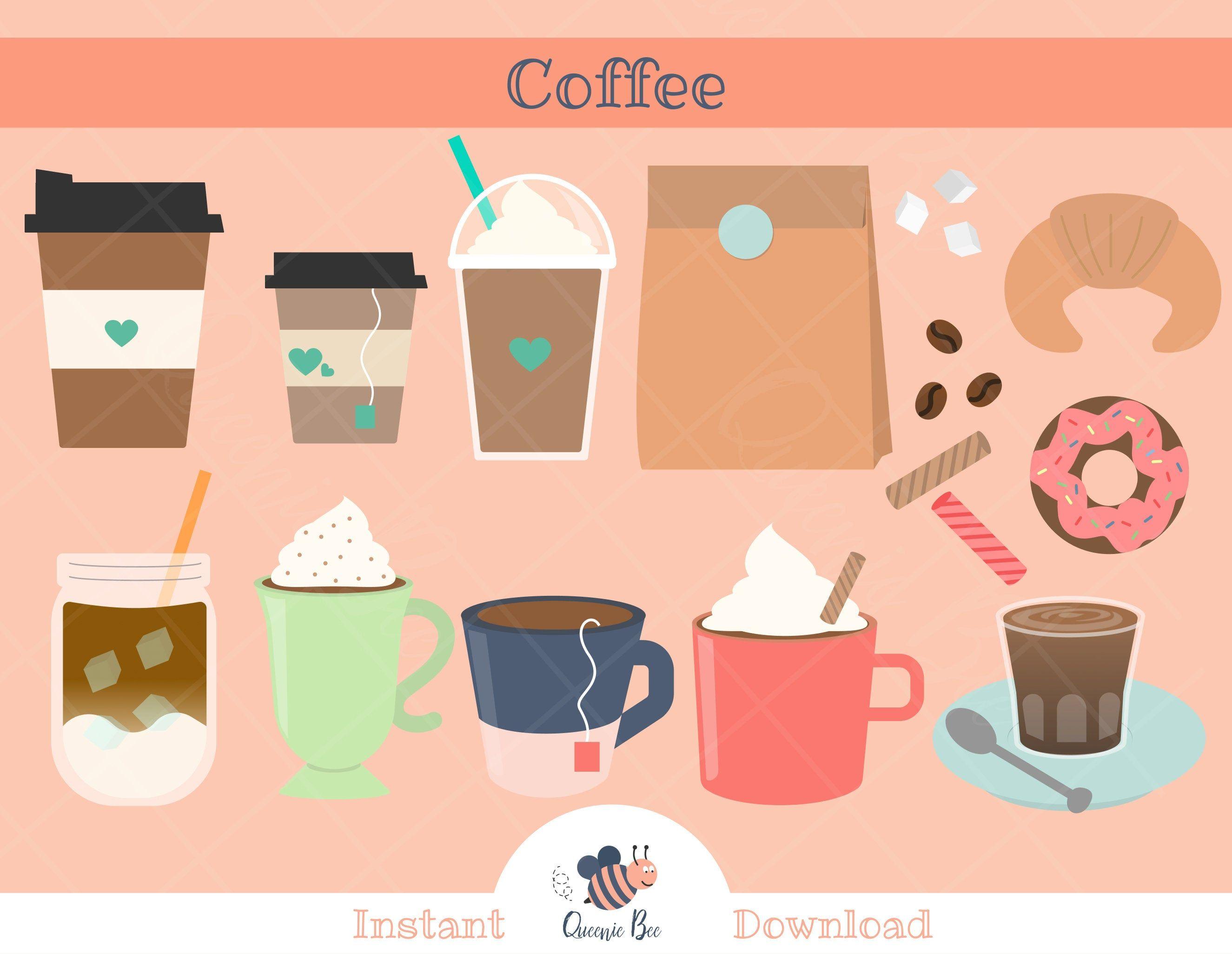 Coffee Clipart Instant Download Teacher Clipart Tea Donut