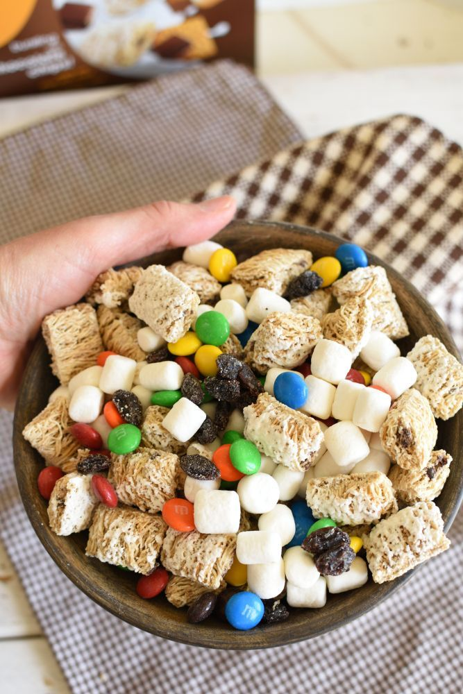 S'mores Trail Mix (Plus a Farm Story) S'mores Trail Mix is a no bake snack mix full of s'mores cereal, marshmallows, chocolate candy, and dried fruit. Kids love it!