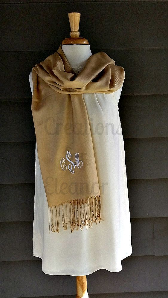 Monogrammed Pashmina, Monogrammed Shawl, Monogrammed Wrap, Monogrammed Scarf, Bridal Party Gift, Wedding Party Gift, Bridesmaids Gift