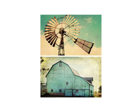 Vintage Teal Wall Decor : Christmas in july country farmhouse photo print set aqua