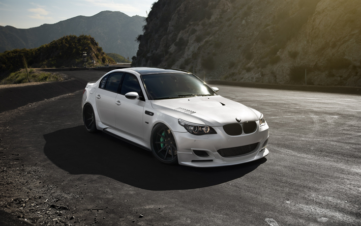 Download Wallpapers Bmw M5 White Sedan Tuning E60 German Cars