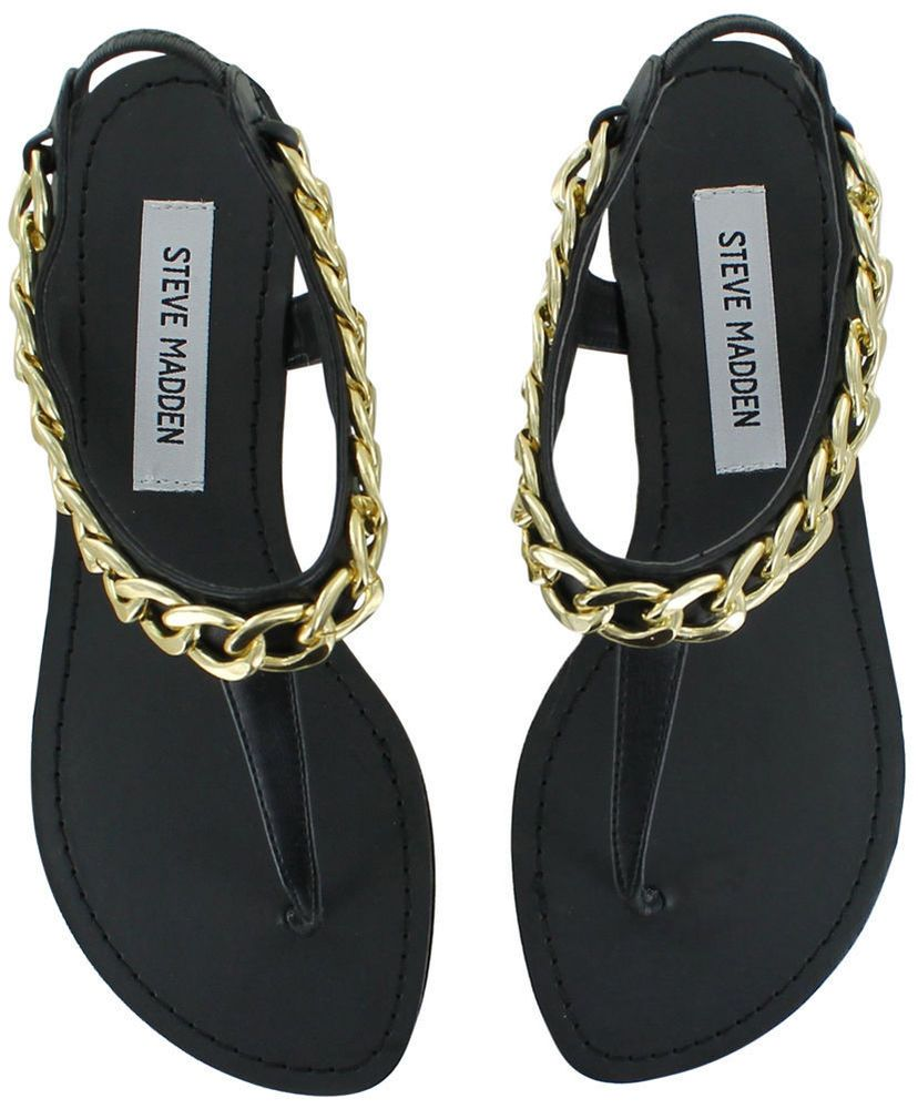 540317dd2a7 STEVE MADDEN HOTTSTUF Women's Thong Slingback Sandals Gold Chain ...