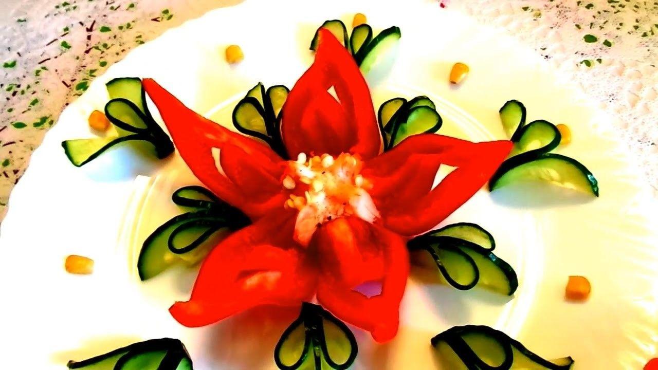How to make pepper flower cucumber design garnish u vegetable
