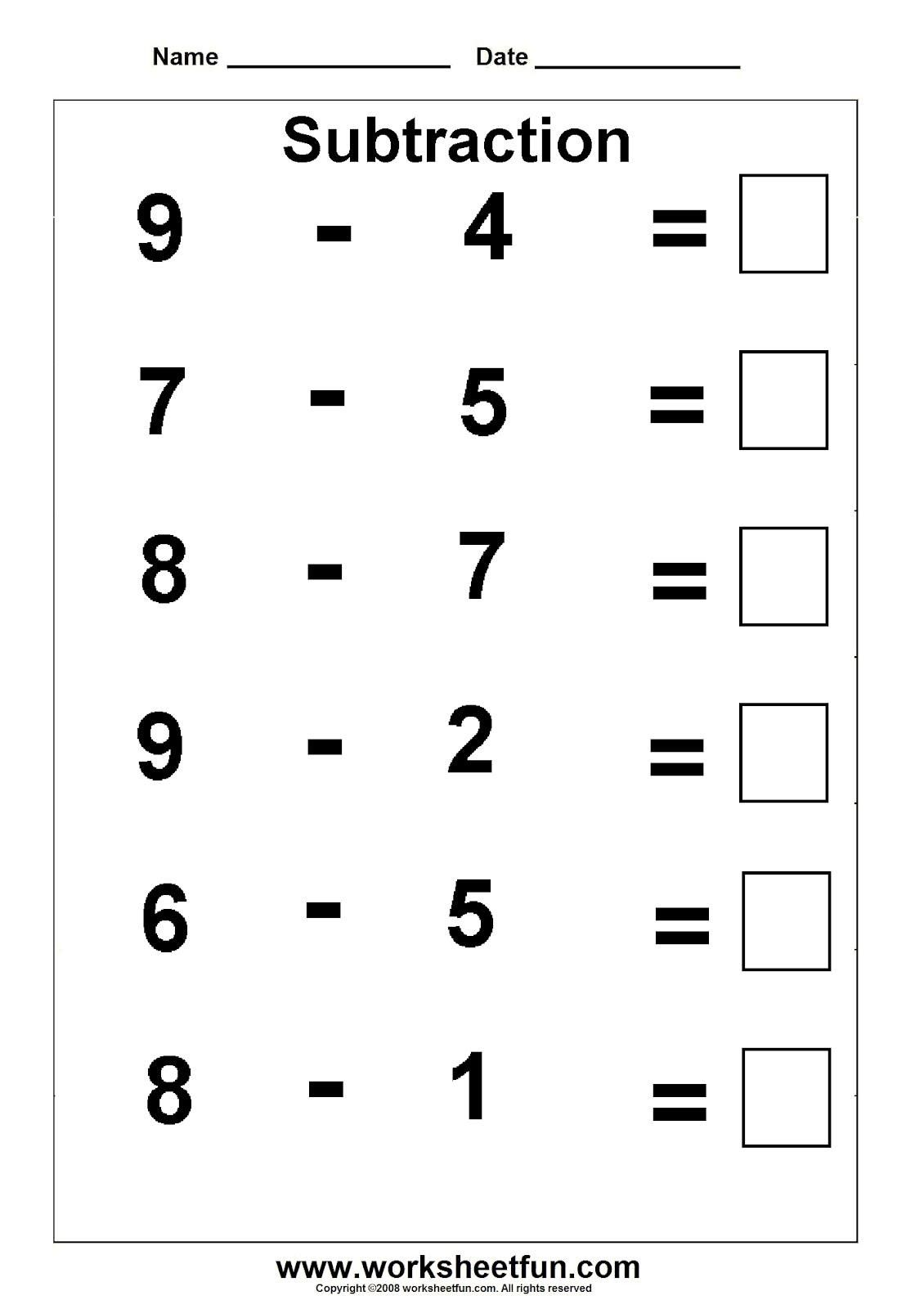Free Printable Math Worksheets For Kindergarten And First Grade En