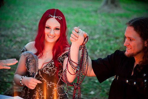 Lara & Mark's Fiery Medieval-inspired Handfast Wedding