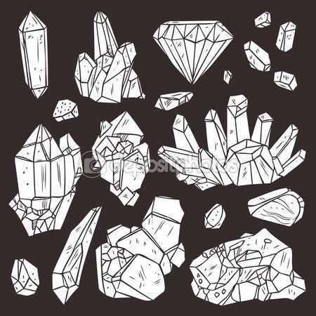 Minerais e cristais de mão desenhada — Ilustração de Stock #82701790