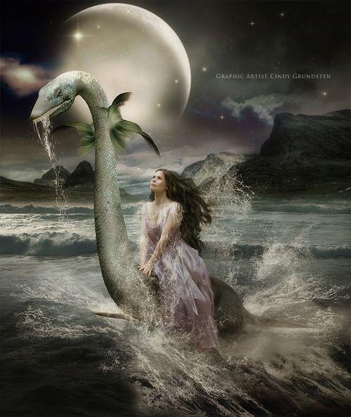 Sea princess riding a sea dragon