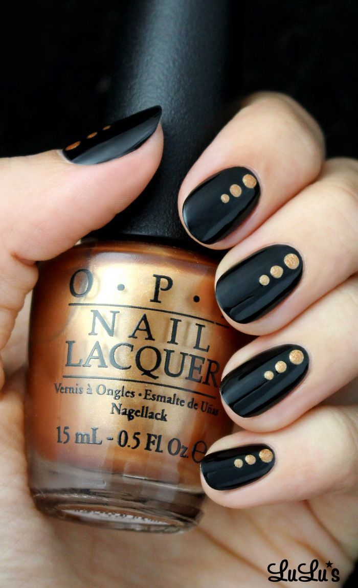 Lovely Nail Designs Black and Gold Dotted Nailu not usually into