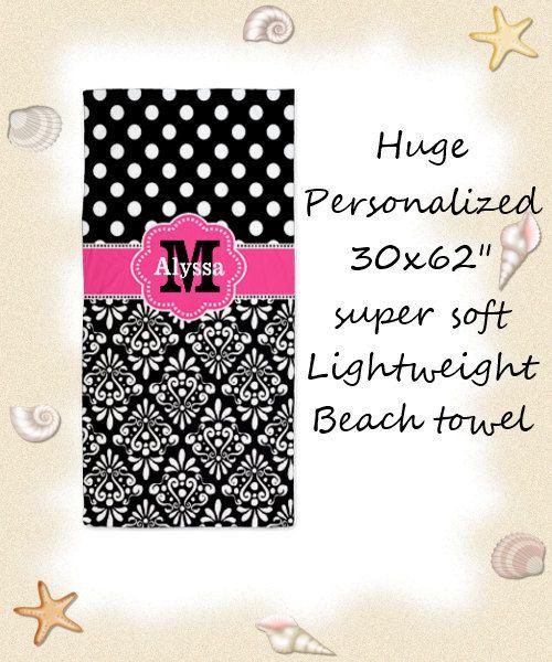 Pink Black Damask Dots Personalized Monogram by DesignsByManon, $34.50
