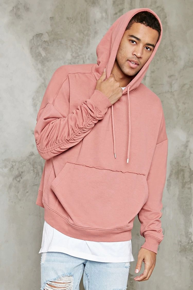 Raw Hoodie Knit Terry Cut Long A Kangaroo Featuring French Pocket Sq1XgFwF