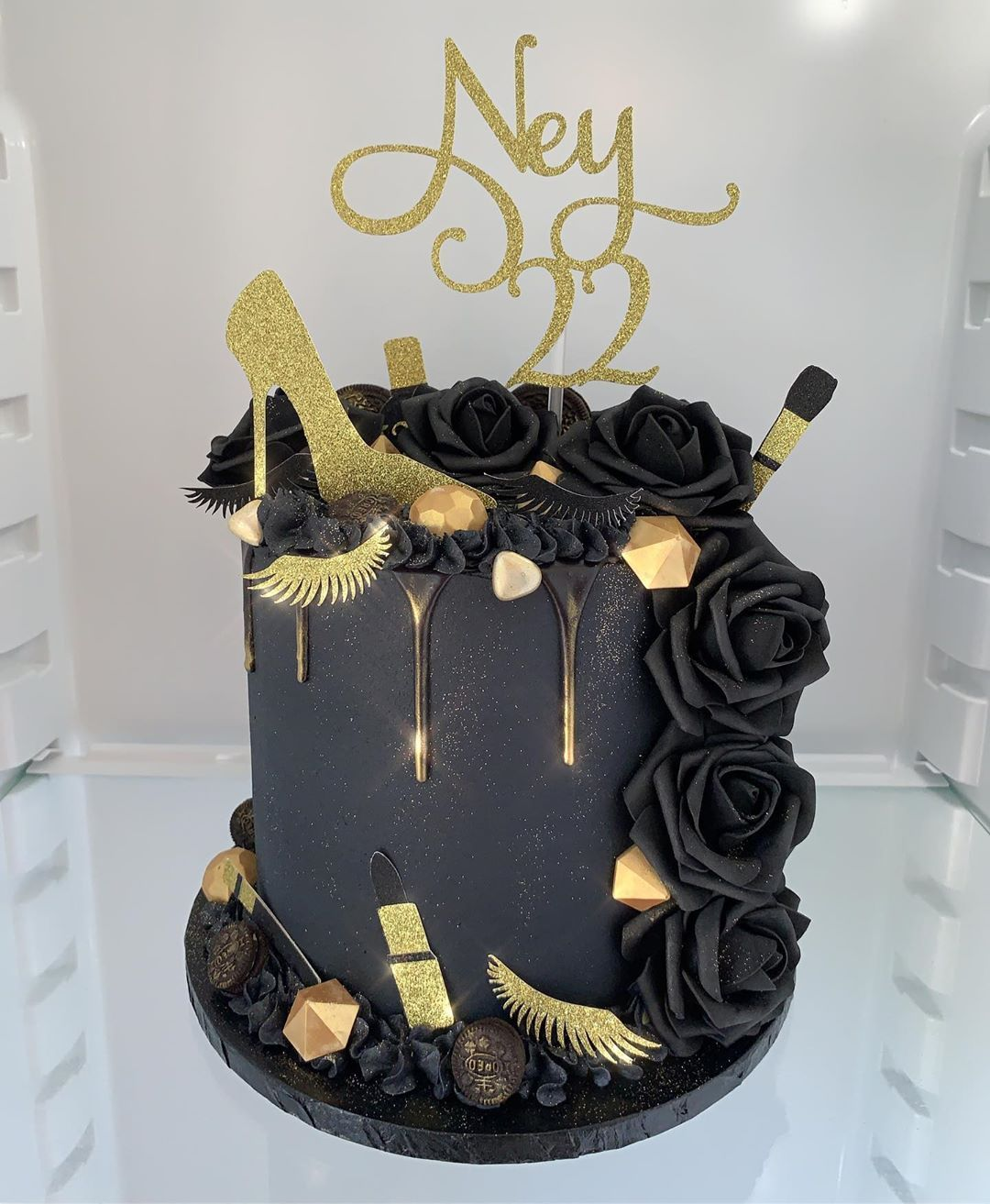 """Maria West on Instagram """"Black and gold cake for Ney who"""