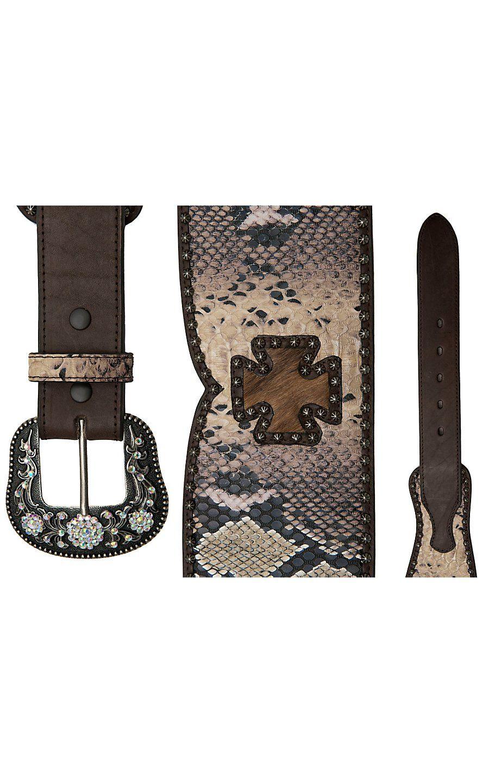 Roper® Ladies Brown Snake Print w/ Cowhide Crosses & Studs Wide Waist Belt | Cavender's Boot City