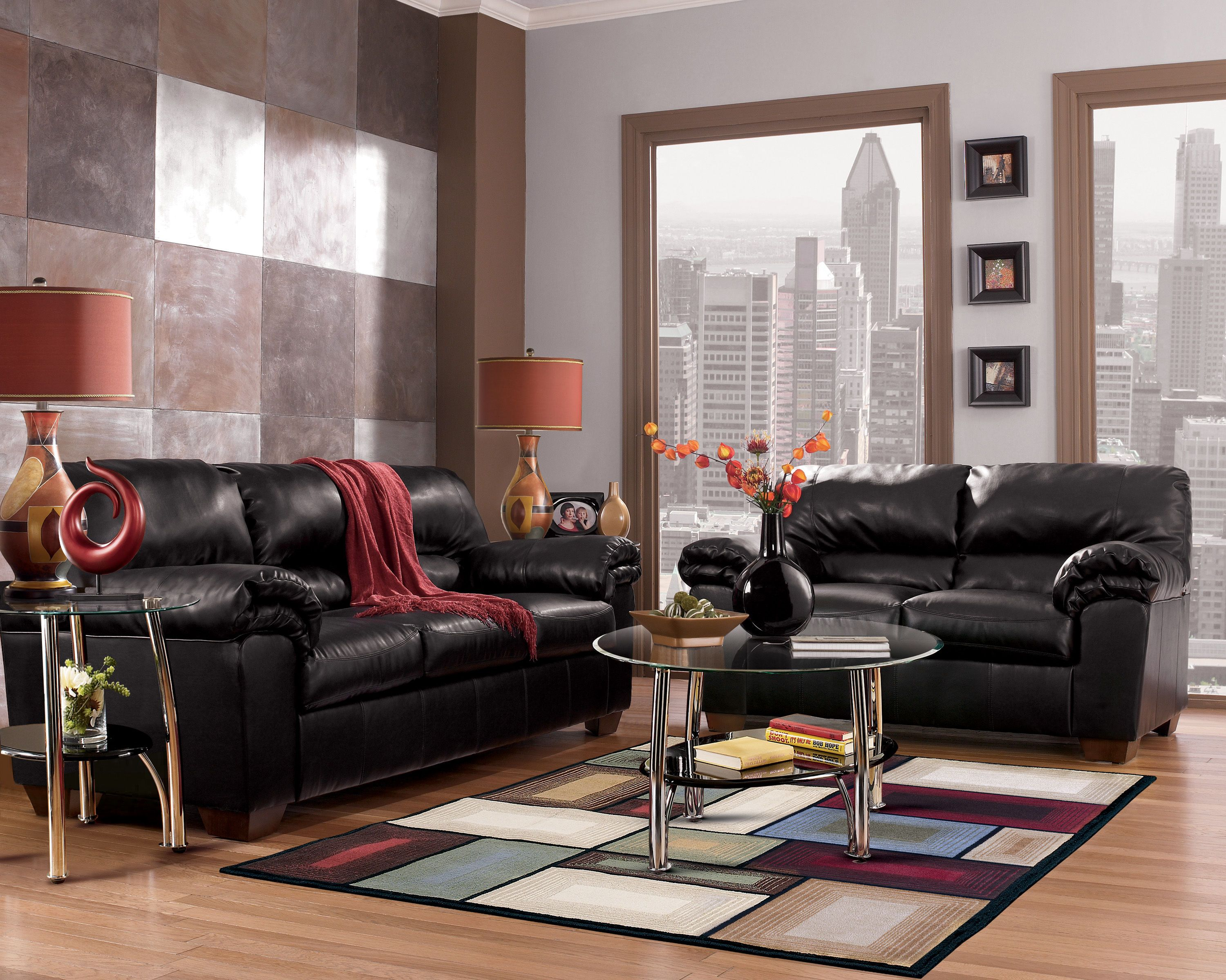 Commando Contemporary Black Faux Leather Living Room Set Leather