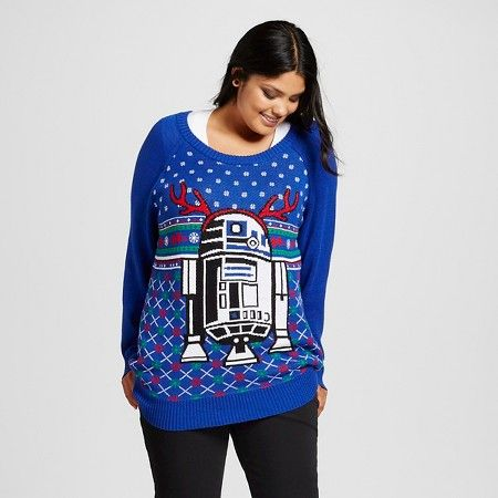 Women\'s Plus Size Star Wars® R2D2 Ugly Christmas Sweater Blue ...