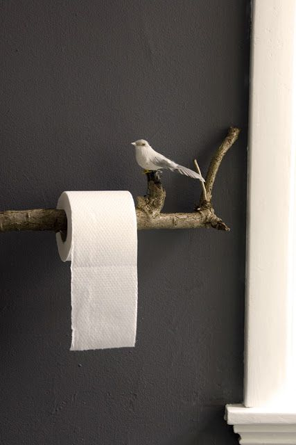 lovely idea single post toilet paper holder. Has to be the cutest toilet paper roll holder I ve ever seen  Wonderful for a rustic country bathroom Made from twig with perched bird on it 15 DIY Toilet Paper Holder Ideas Towels Woods and