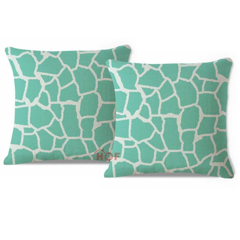 Pcs throw pillow case aqua turquoise giraffe animal heavy weight