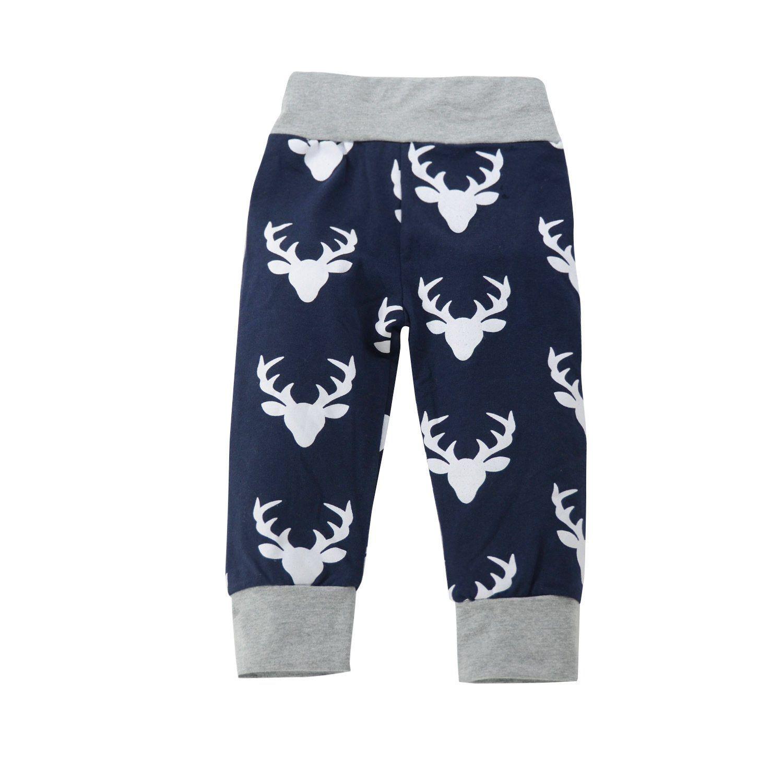 b2ac2ea5fbb Kids Baby Boys Christmas Letters Print Tshirt Tops Cartoon Deer Pants  Outfits size 1218Months 90