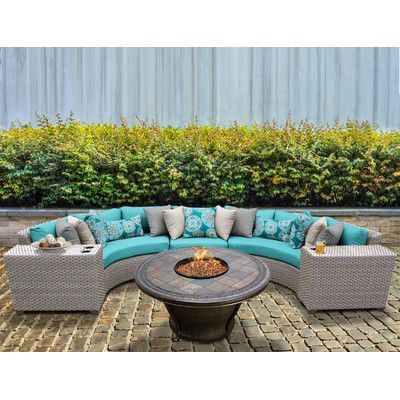 TK Classics Florence Outdoor Wicker Patio 6 Piece Deep Seating Group with Cushion Fabric: