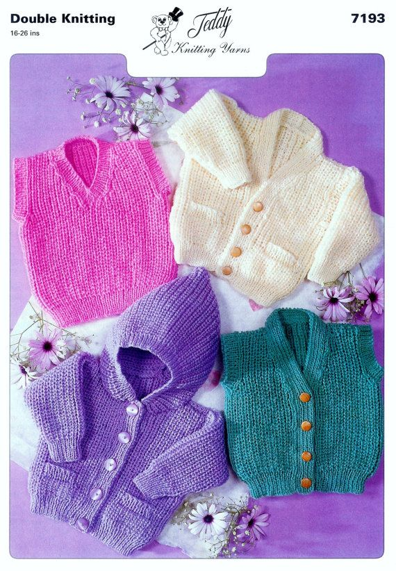 Pdf 8ply Dk Jackets And Pullover 4 Styles 16 26ins Teddy 7193