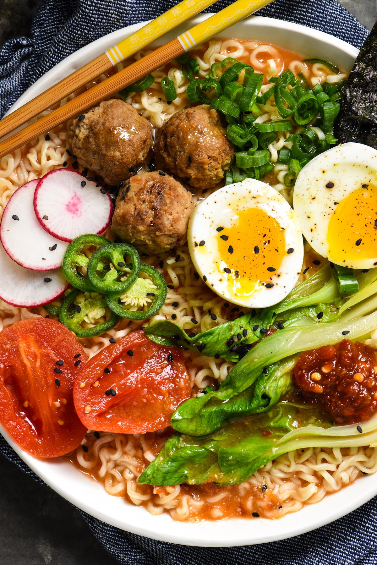 Miso-Tomato Ramen with Meatballs - Make restaurant-quality ramen at home with this versatile and fun recipe!   foxeslovelemons.com