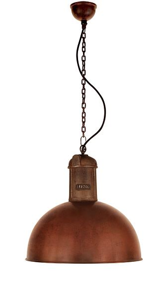Large stylish industrial copper pendant lamp on chain diameter of the shade is 50 cm height of shade 55 cm the chain length is 130 cm