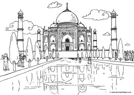 Around The World Colouring Pages Taj Mahal