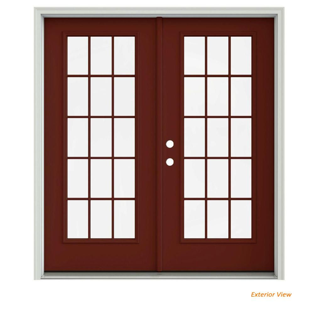 Jeld Wen 72 In X 80 In Mesa Red Painted Steel Right Hand Inswing 15 Lite Glass Stationary Active Patio Door French Doors Patio Patio Doors Wooden Patio Doors