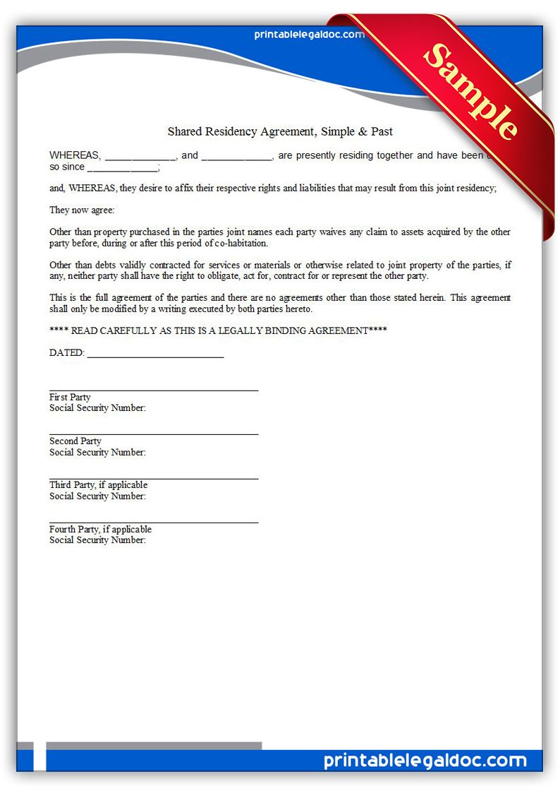 Free Printable Residence Sharing Agreement, Simple & Past