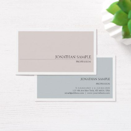 Elegant Colors Sleek Modern Plain Professional Business Card - Sample Cards