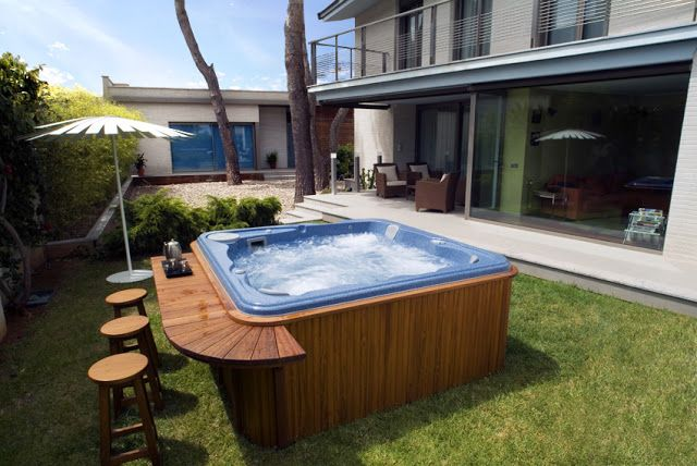 Systempool outdoor spa ebano 6 people iroko wood bar - Jacuzzi para exterior ...