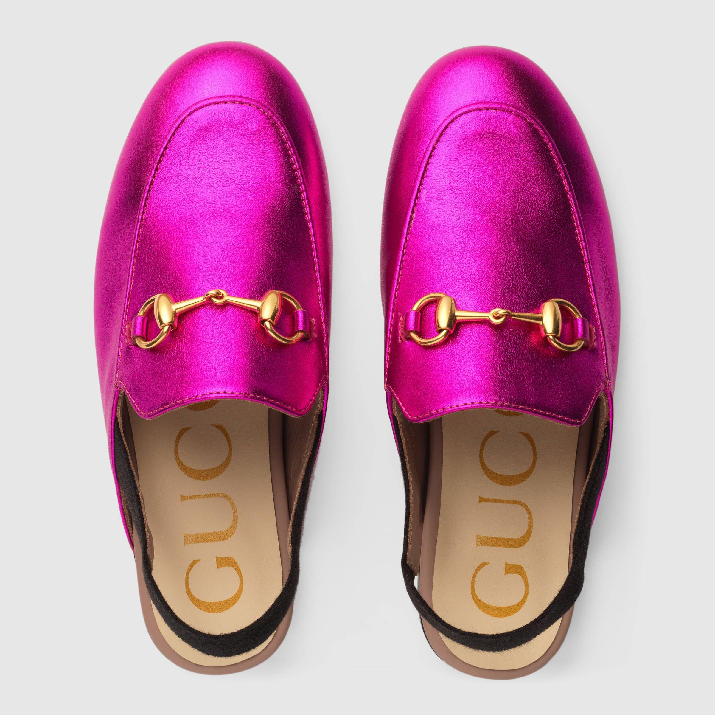 7b63e137c Gucci Children s Princetown metallic leather slipper Detail 3