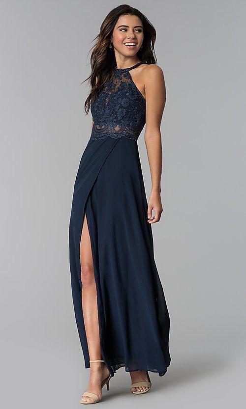 e6be2799d0 Lace-Bodice Long Chiffon Cheap Prom Dress - PromGirl