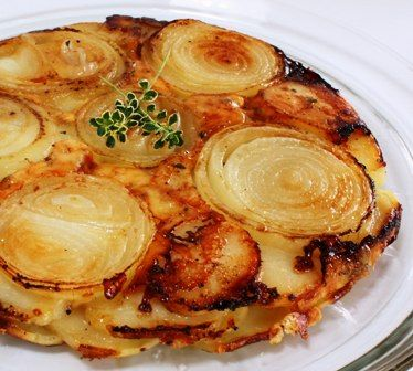 upside down potato & onion tart