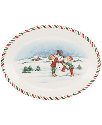 Kathy Ireland Once Upon A Christmas Elves Oval Platter Available At Macys Com Inspired By Cherished Family Heirloom Kathy Ireland Christmas Mugs Oval Platter