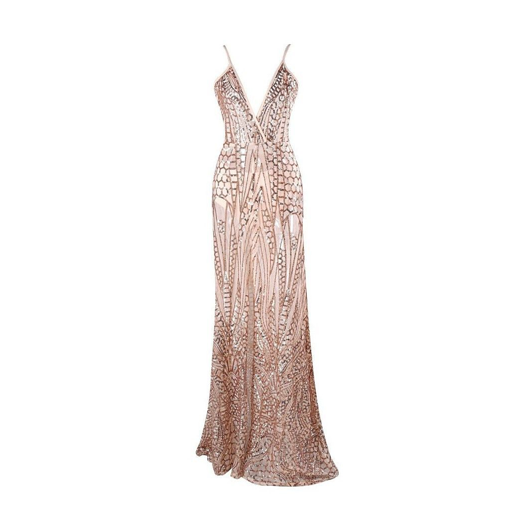Gold Sequin Evening Gown | Casual party dresses, Sequin evening ...