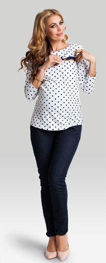 Loren cream polka dots pattern maternity nursing top