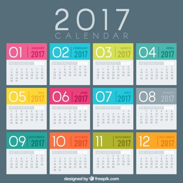 Descarga Gratis Plantilla De Calendario 2017 Con Colores Plantilla Calendario