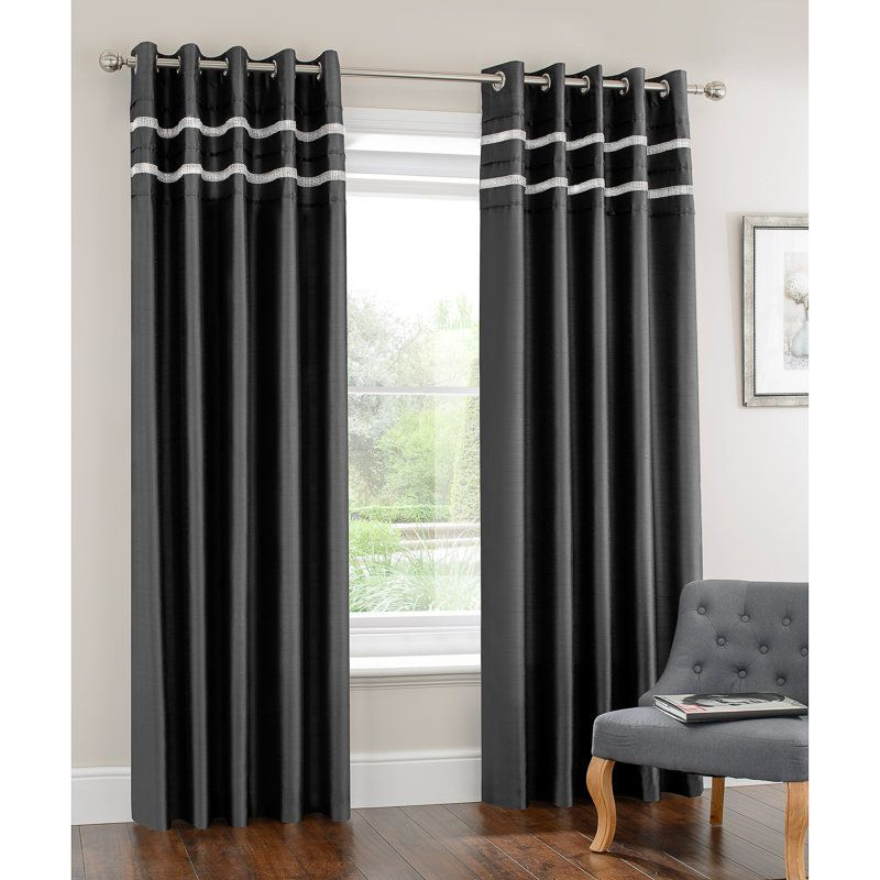 Diamante Pleated Fully Lined Curtain 90 X 90 Home B M Curtains Cheap Curtains Velvet Curtains
