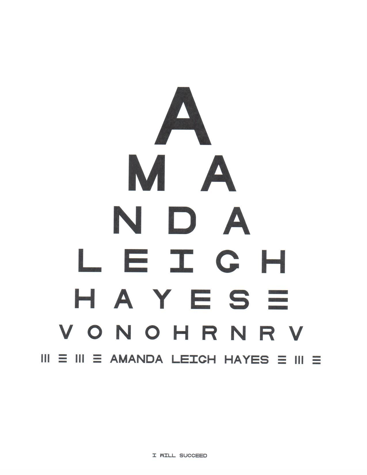 Name Or Phrase In The Form Of An Eye Chart For 4