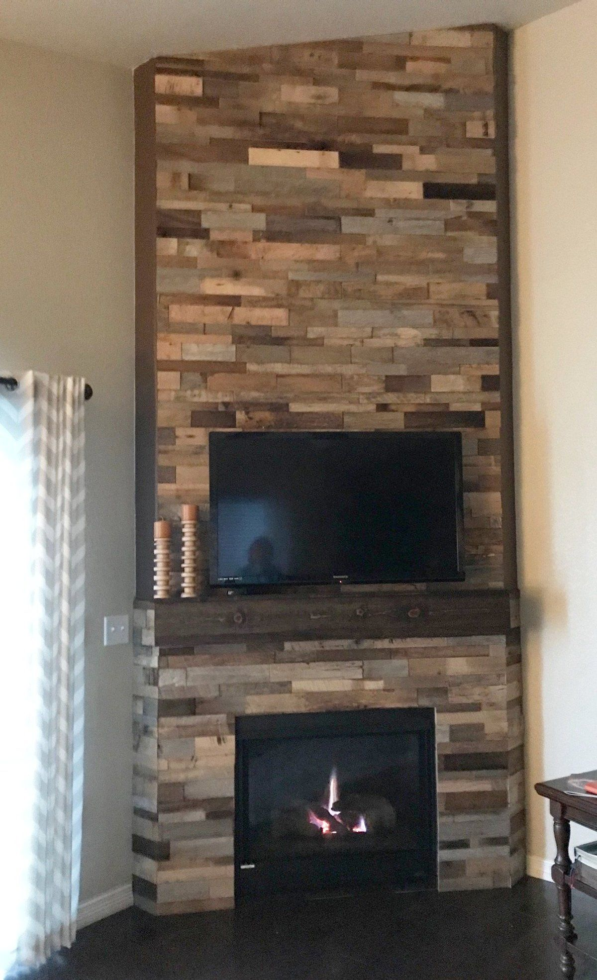 15sf Reclaimed Barn Wood Stacked Wall Panels Reclaimed Wood Fireplace Reclaimed Barn Wood Barn Wood