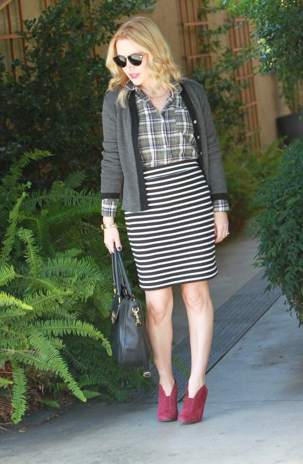 Don't be afraid to mix—plaid and horizontal stripes can work, trust.