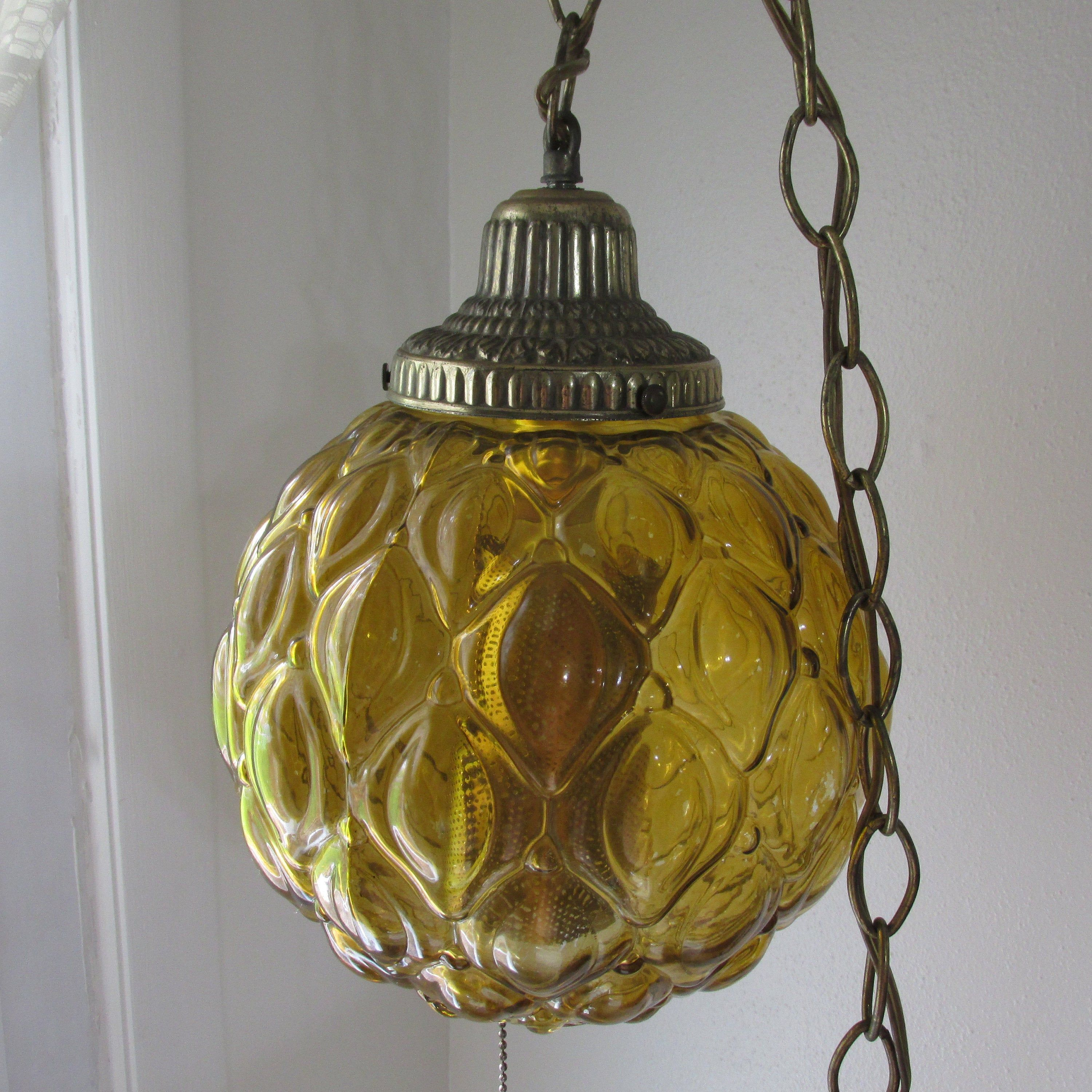 Hanging Swag Lamp Amber Globe Vintage 1970s With Long Chain Etsy Swag Lamp Pull Chain Etsy Shipping
