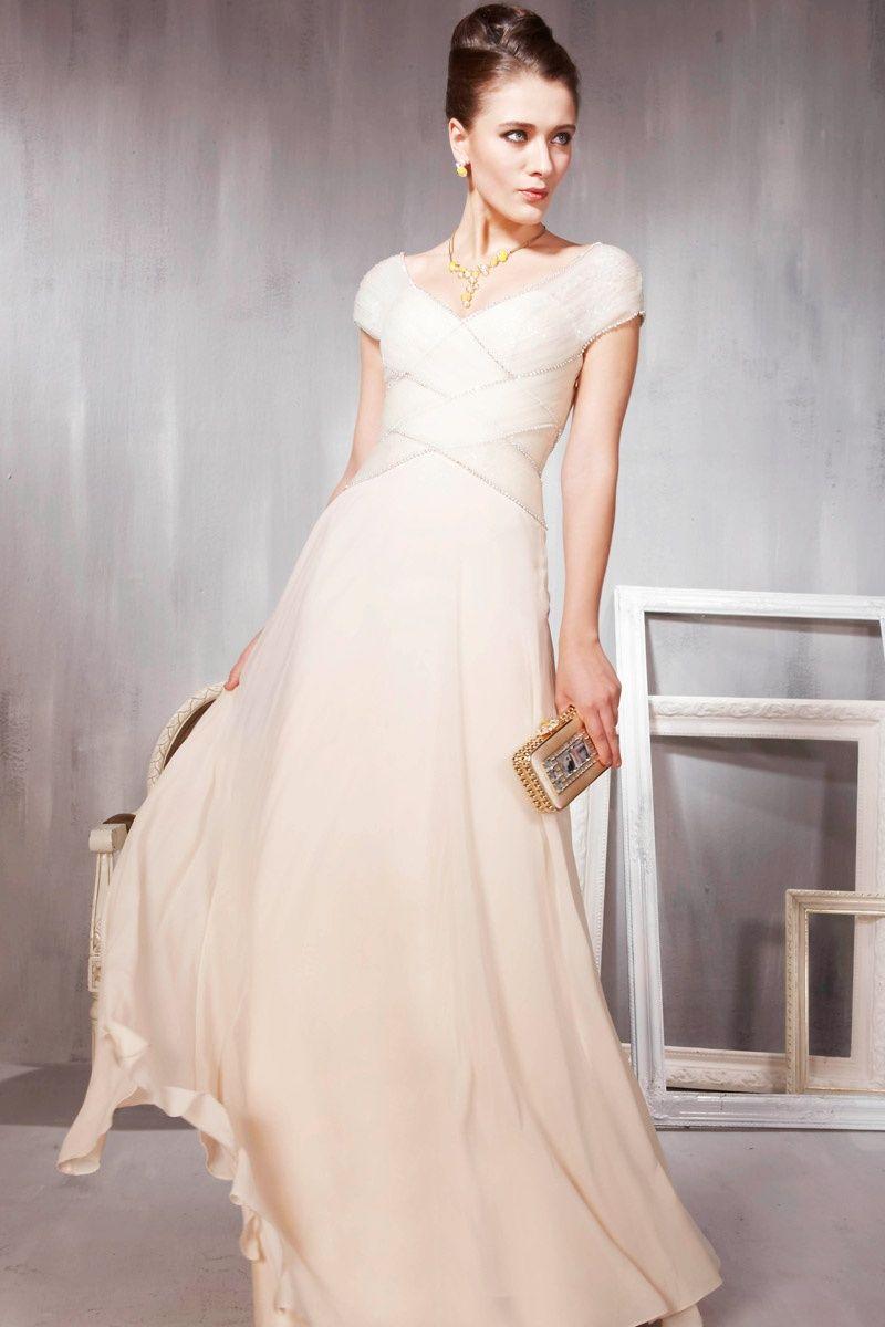Cream dresses for weddings  Cream Weave Floor Length Bridesmaid Dress  Wedding  Pinterest