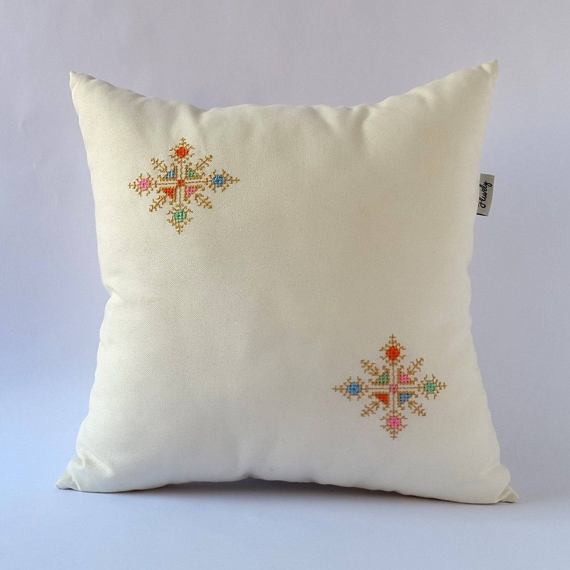 CROSS STITCHED Pattern Coussin Housse Rouge 40x40 cm