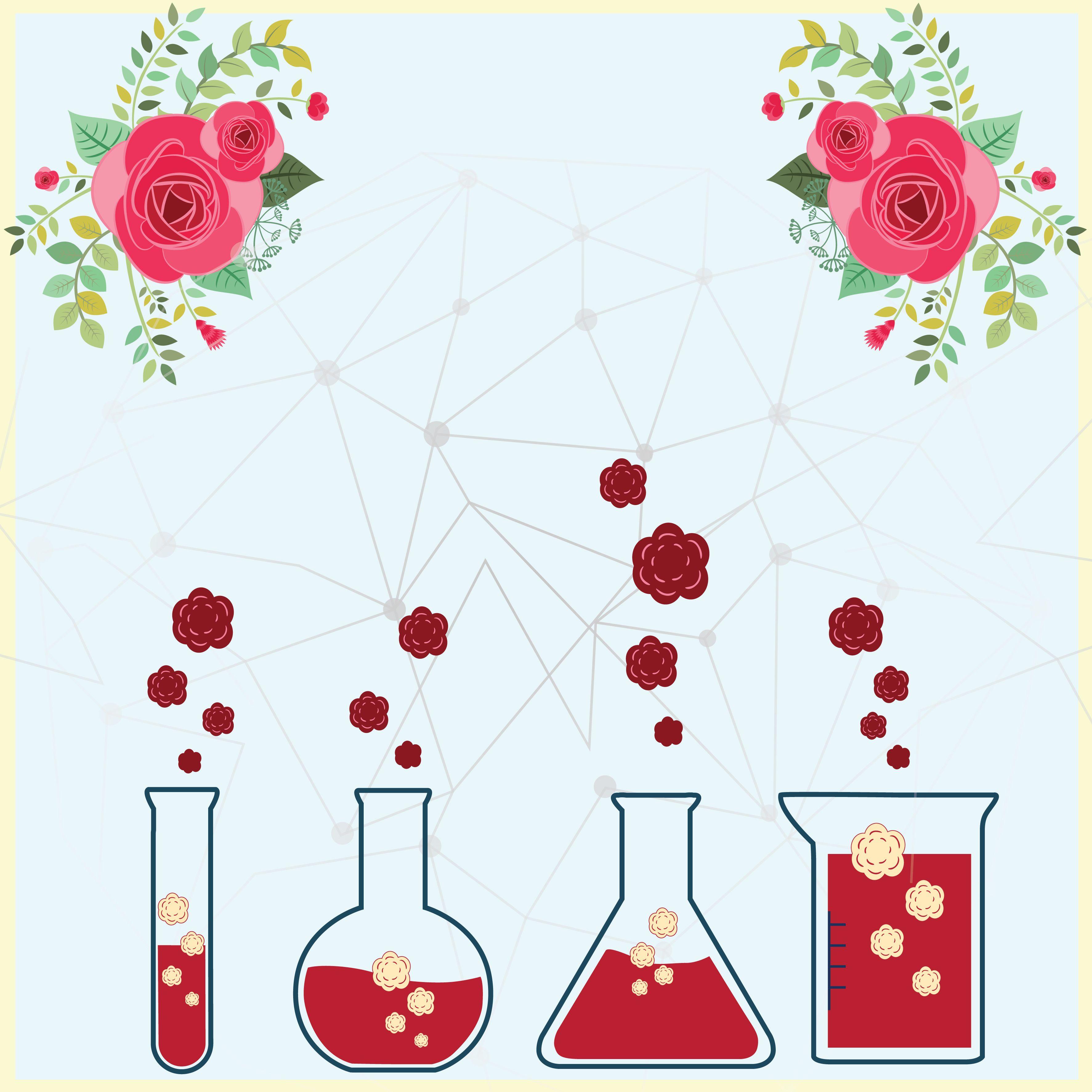 chemistry of flower Cards, Flowers, Illustration
