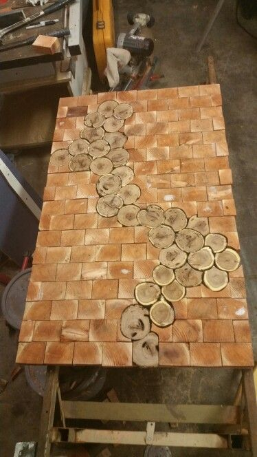 My 1st Attempt On And End Grain Table Red Wood Squares And