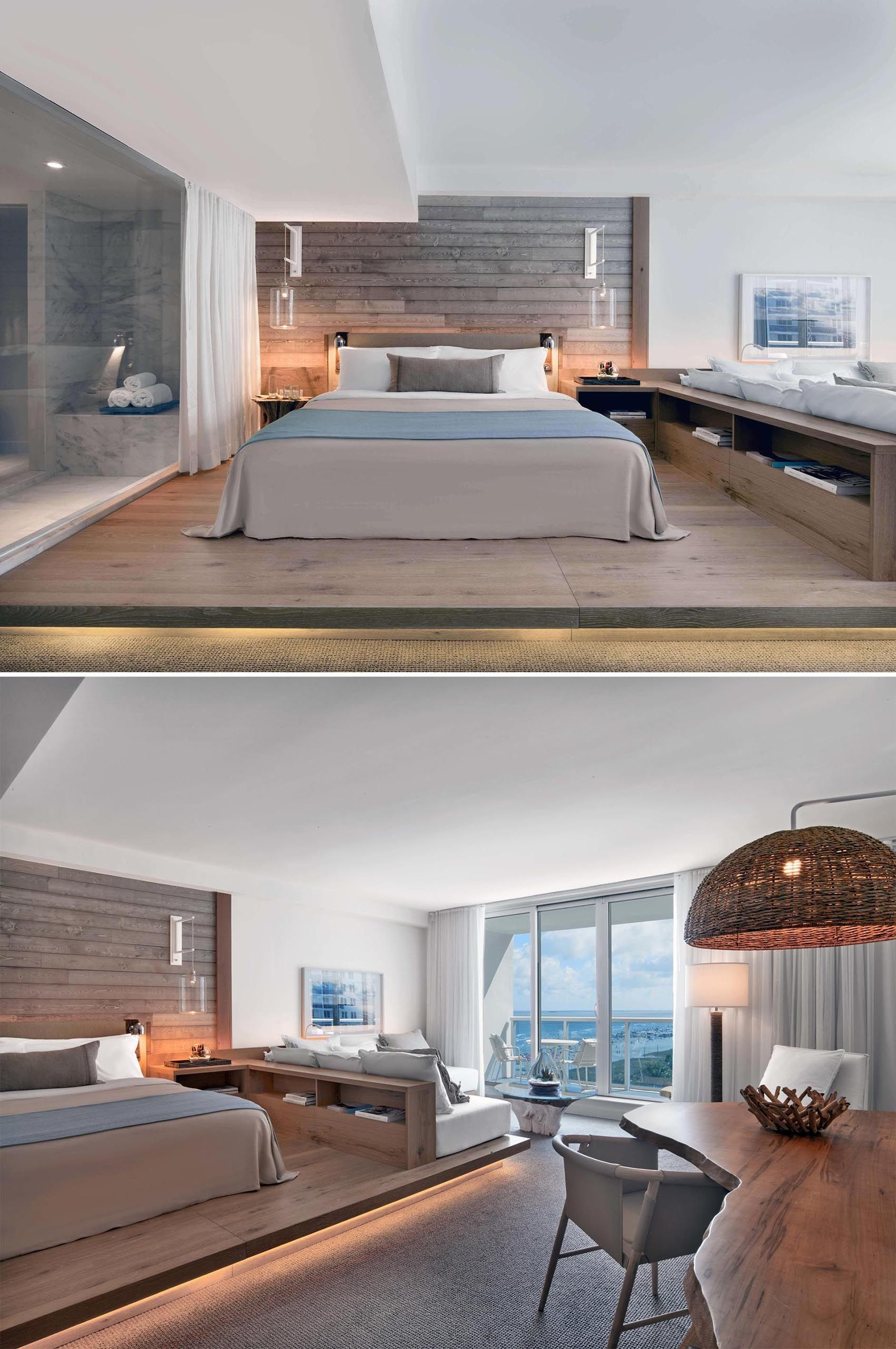 Get Bedroom Design Ideas From This Hotel Room With A Wood Platform And Built In Sofa Modern Hotel Room Hotel Room Design Built In Sofa